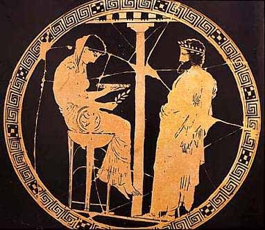 Delphic Oracle Kylix by rhe Kodros painter 440 to 430 BCE